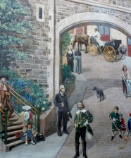Mural, depicting Quebec history, Lower Town