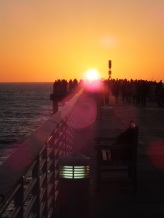 watching the sunset from pier