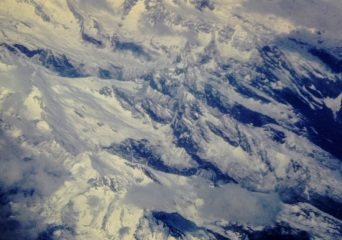 flying over Himalayas, near Everest