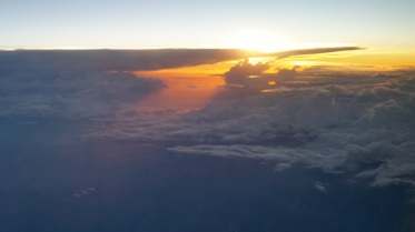 Sunset, flying east to west