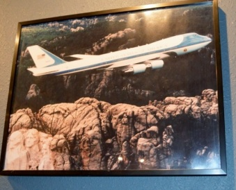 Air Force 1, flying over Mt Rushmore